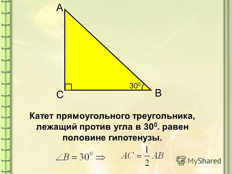 А B С Катет прямоугольного треугольника, лежащий против угла в 30 0. равен половине гипотенузы. 30 0