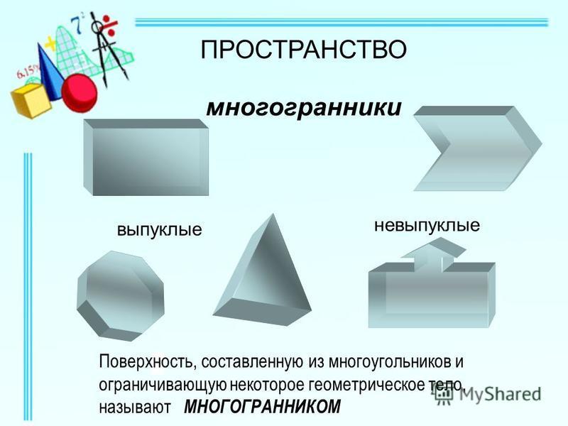 ПРОСТРАНСТВО многогранники выпуклые невыпуклые Поверхность, составленную из многоугольников и ограничивающую некоторое геометрическое тело, называют МНОГОГРАННИКОМ