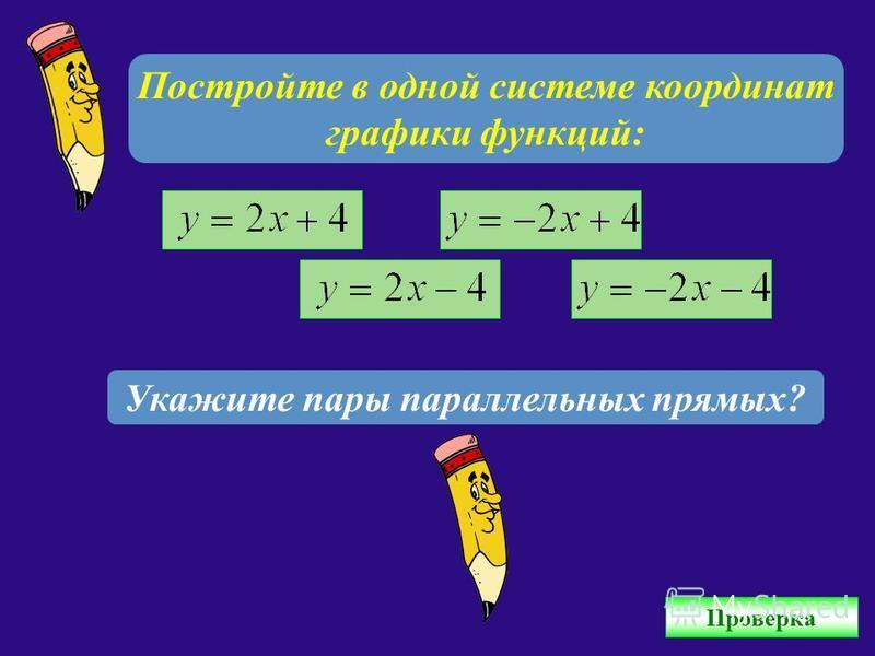 Постройте в одной системе координат графики функций: Укажите пары параллельных прямых? Проверка
