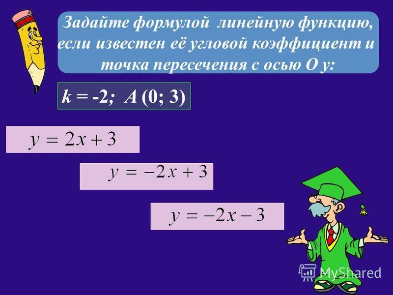 Задайте формулой линейную функцию, если известен её угловой коэффициент и точка пересечения с осью О у: k = -2; A (0; 3)