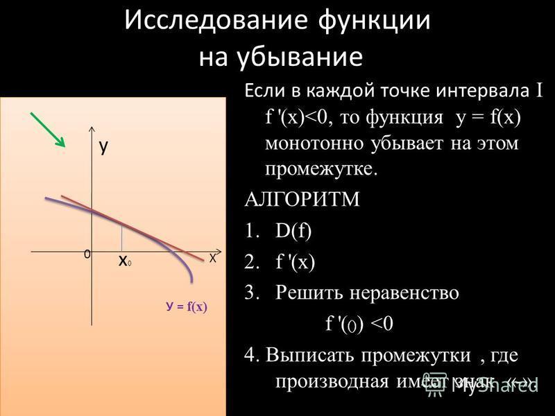 Исследование функции на убывание у у Если в каждой точке интервала I f '(x)<0, то функция у = f(x) монотонно убывает на этом промежутке. АЛГОРИТМ 1.D(f) 2. f '(x) 3. Решить неравенство f '( () ) <0 4. Выписать промежутки, где производная имеет знак «