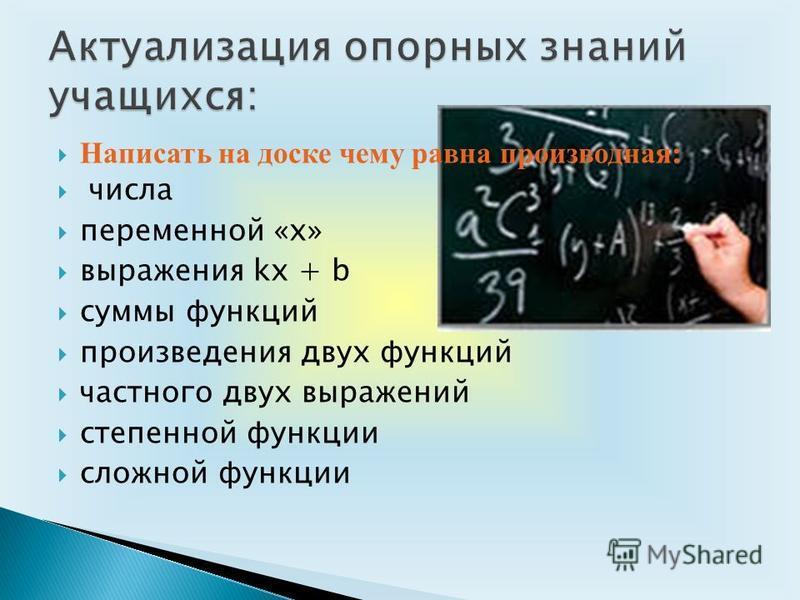 Написать на доске чему равна производная: числа переменной «х» выражения kx + b суммы функций произведения двух функций частного двух выражений степенной функции сложной функции