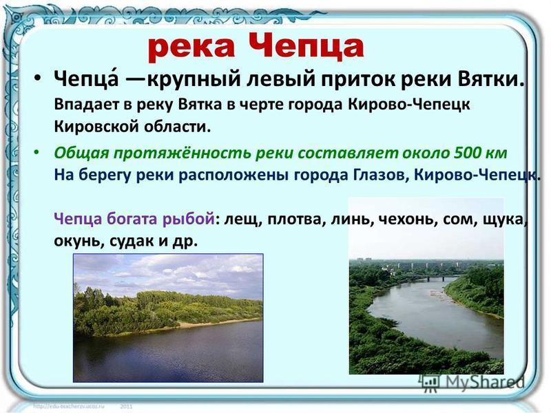 река Чепца Чепца́ крупный левый приток реки Вятки. Впадает в реку Вятка в черте города Кирово-Чепецк Кировской области. Общая протяжённость реки составляет около 500 км На берегу реки расположены города Глазов, Кирово-Чепецк. Чепца богата рыбой: лещ,
