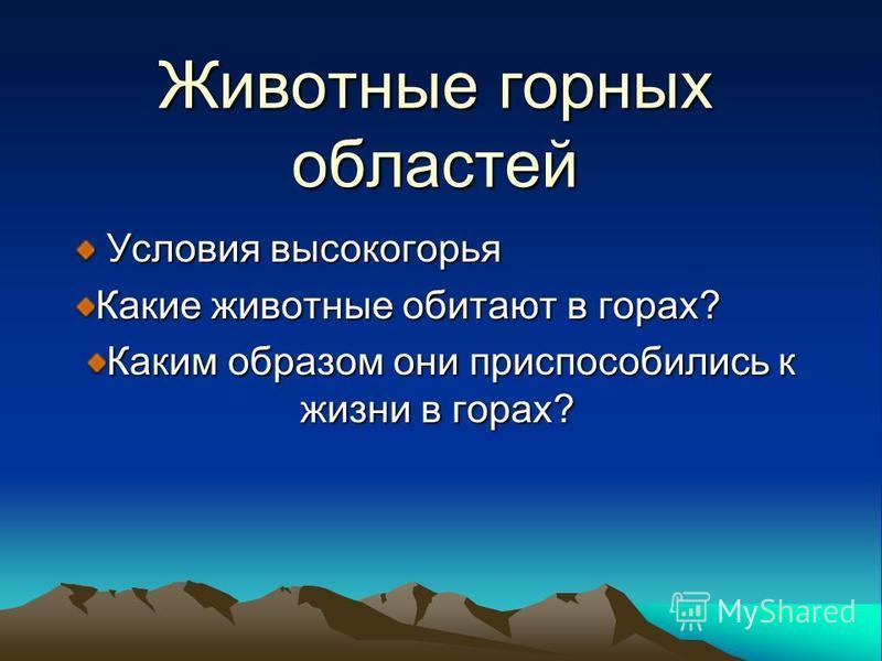 Животные горных областей Условия высокогорья Условия высокогорья Какие животные обитают в горах? Каким образом они приспособились к жизни в горах?
