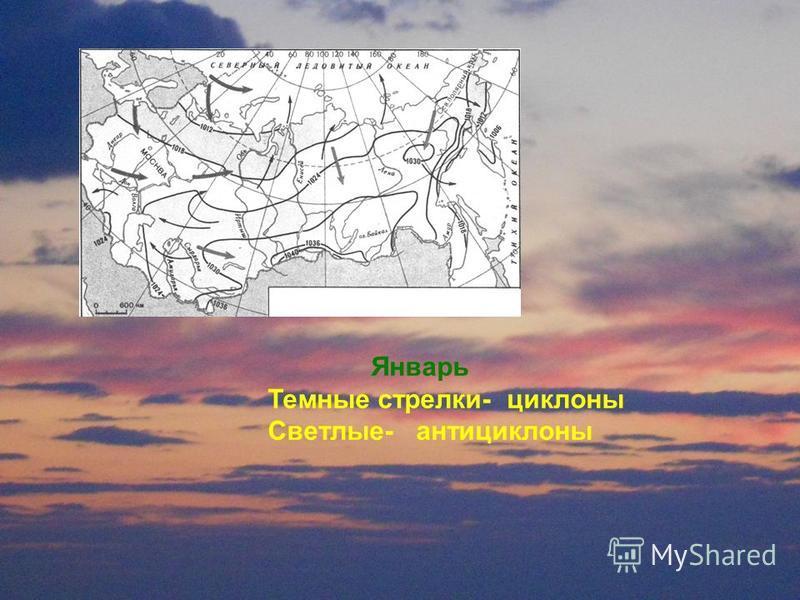 Январь Темнае стрелки- циклона Светлые- антициклона
