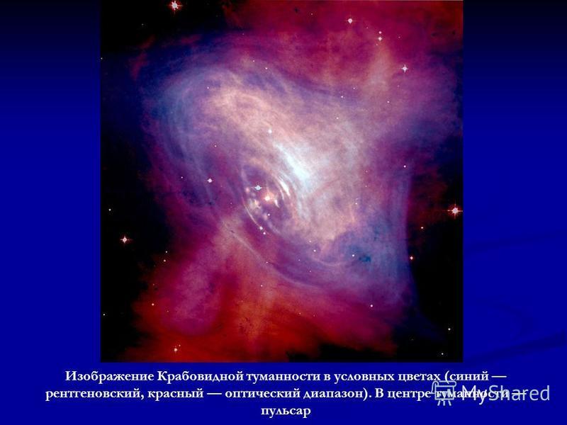 Изображение Крабовидной туманности в условных цветах (синий рентгеновский, красный оптический диапазон). В центре туманности пульсар