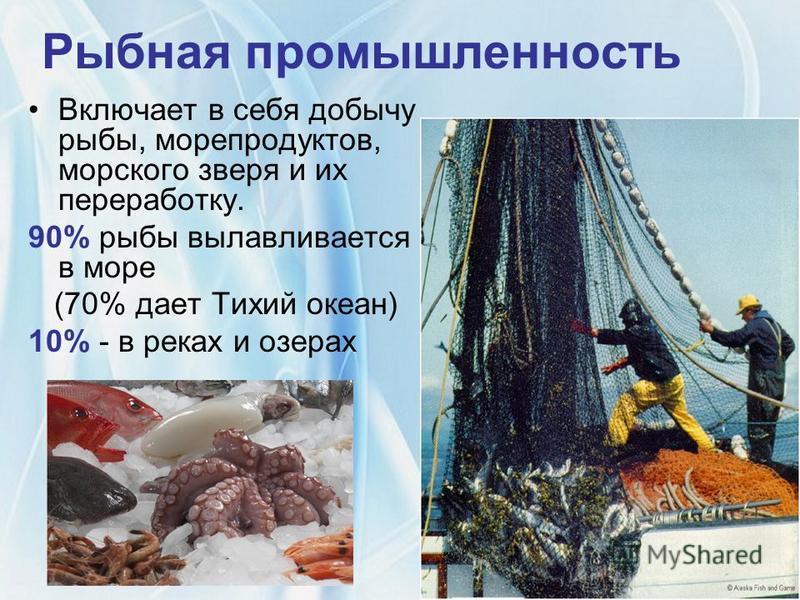 Рыбная промышленность Включает в себя добычу рыбы, морепродуктов, морского зверя и их переработку. 90% рыбы вылавливается в море (70% дает Тихий океан) 10% - в реках и озерах