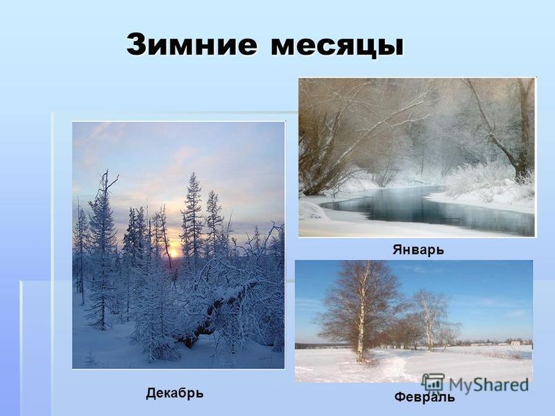 Зимние месяцы Зимние месяцы Декабрь Январь Февраль