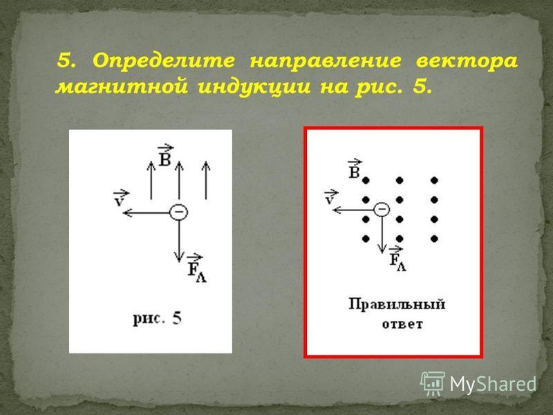 5. Определите направление вектора магнитной индукции на рис. 5.