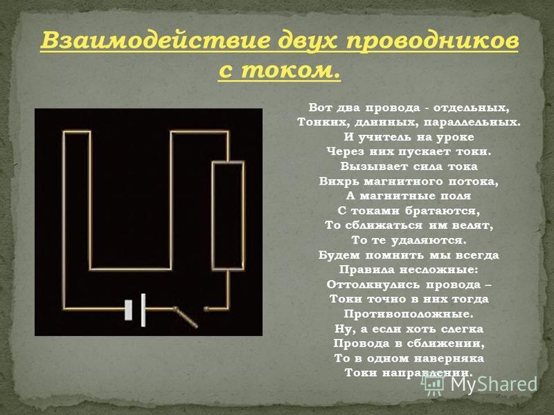 Взаимодействие двух проводников с током. Вот два провода - отдельных, Тонких, длинных, параллельных. И учитель на уроке Через них пускает токи. Вызывает сила тока Вихрь магнитного потока, А магнитные поля С токами братаются, То сближаться им велят, Т