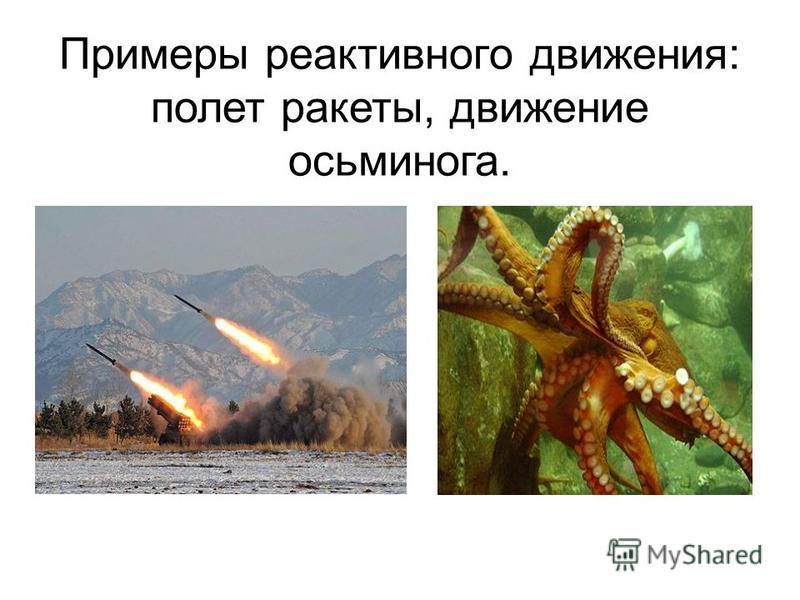Примеры реактивного движения: полет ракеты, движение осьминога.
