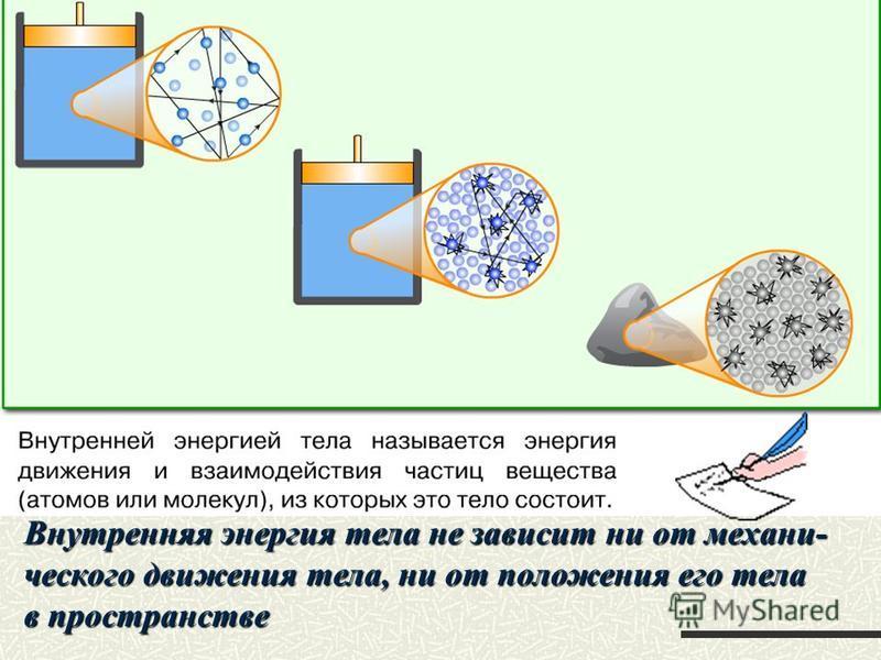 Внутренняя энергия тела не зависит ни от механического движения тела, ни от положения его тела в пространстве
