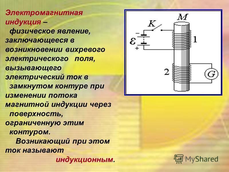 Электромагнитная индукция – физическое явление, заключающееся в возникновении вихревого электрического поля, вызывающего электрический ток в замкнутом контуре при изменении потока магнитной индукции через поверхность, ограниченную этим контуром. Возн