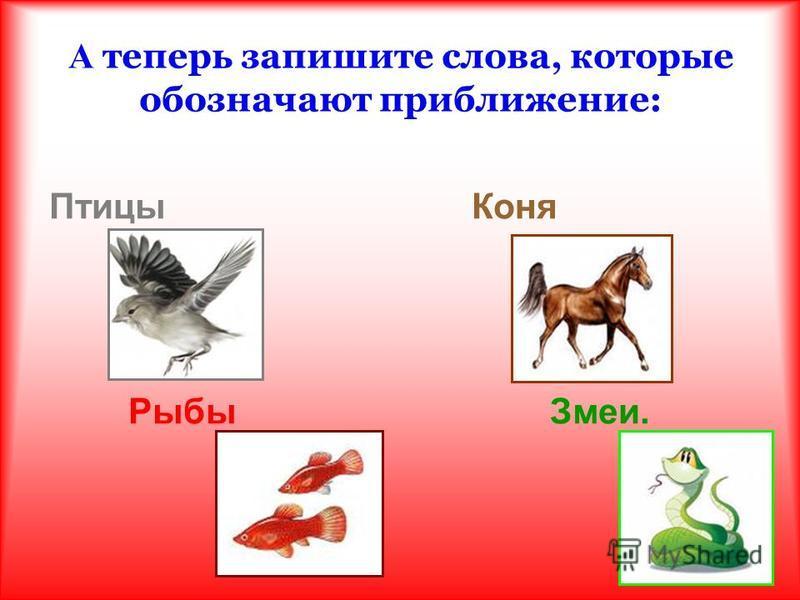 А теперь запишите слова, которые обозначают приближение: Птицы Коня Рыбы Змеи.