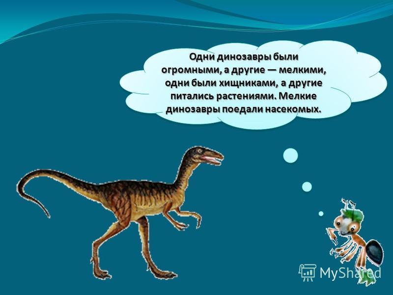 Одни динозавры были огромными, а другие мелкими, одни были хищниками, а другие питались растениями. Мелкие динозавры поедали насекомых.