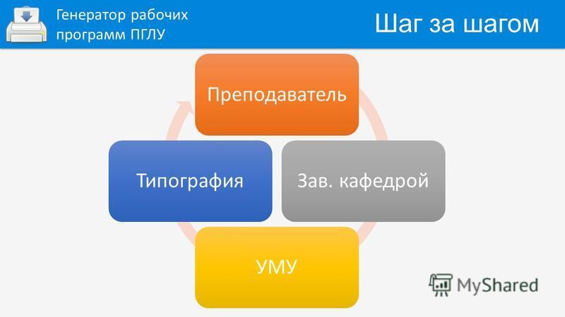 Шаг за шагом Генератор рабочих программ ПГЛУ Преподаватель Зав. кафедрой УМУТипография