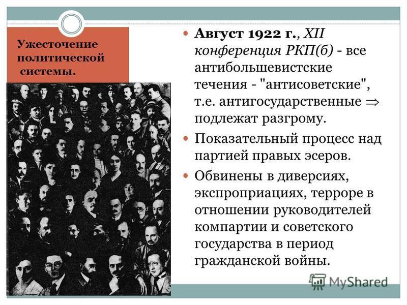 Ужесточение политической системы. Август 1922 г., XII конференция РКП(б) - все антибольшевистские течения -