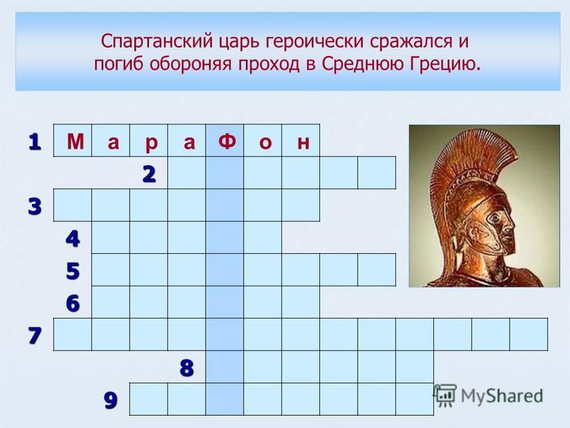 1 М а р а Ф о н 2 3 4 5 6 7 8 9 Спартанский царь героически сражался и погиб обороняя проход в Среднюю Грецию.