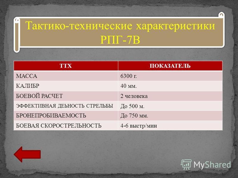 ТТХПОКАЗАТЕЛЬ МАССА6300 г. КАЛИБР40 мм. БОЕВОЙ РАСЧЕТ2 человека ЭФФЕКТИВНАЯ ДЕЬНОСТЬ СТРЕЛЬБЫ До 500 м. БРОНЕПРОБИВАЕМОСТЬДо 750 мм. БОЕВАЯ СКОРОСТРЕЛЬНОСТЬ4-6 выстр/мин Тактико-технические характеристики РПГ-7В