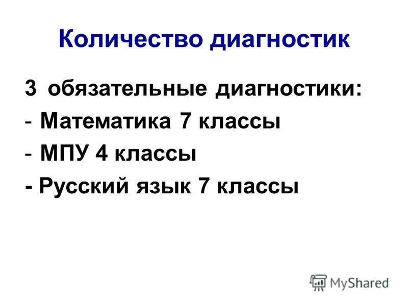 Количество диагностик 3 обязательные диагностики: -Математика 7 классы -МПУ 4 классы - Русский язык 7 классы