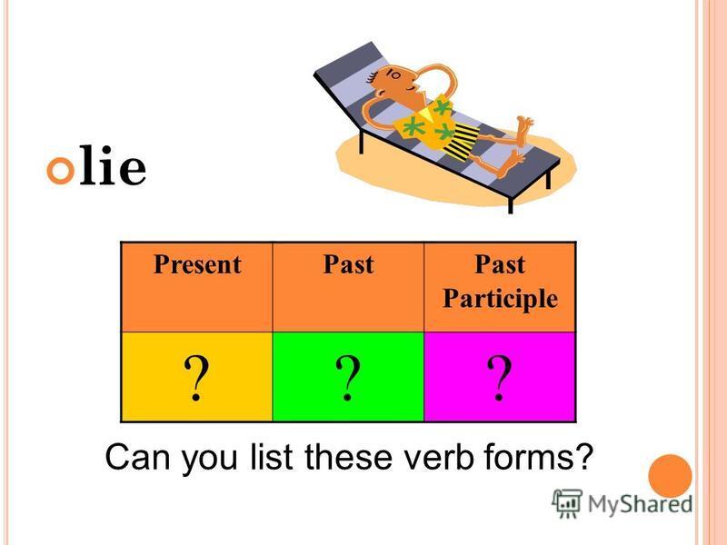 lie Can you list these verb forms? PresentPastPast Participle ???