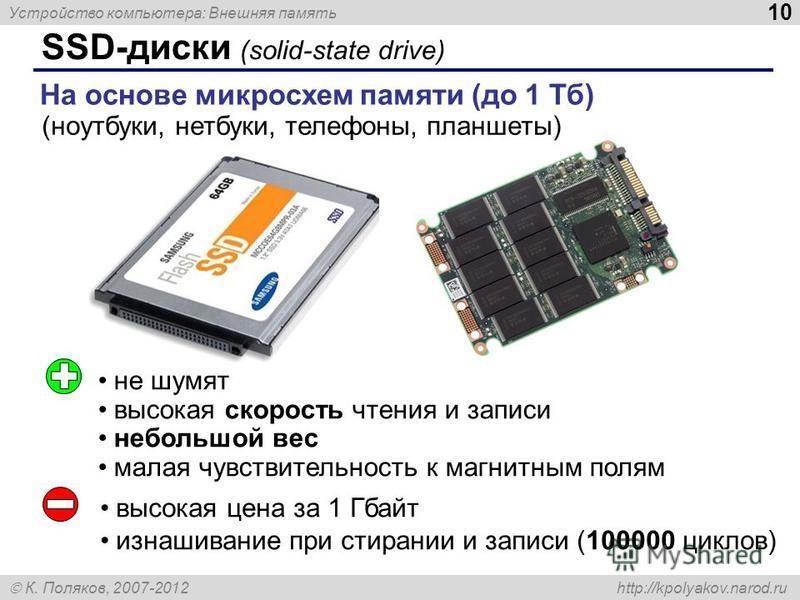 Устройство компьютера: Внешняя память 10 К. Поляков, 2007-2012 http://kpolyakov.narod.ru SSD-диски (solid-state drive) На основе микросхем памяти (до 1 Тб) не шумят высокая скорость чтения и записи небольшой вес малая чувствительность к магнитным пол