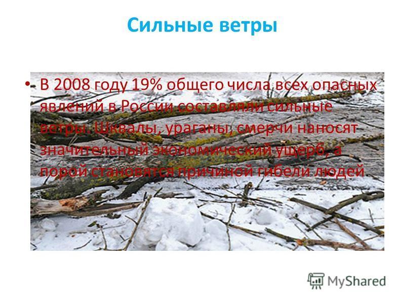 Сильные ветры В 2008 году 19% общего числа всех опасных явлений в России составляли сильные ветры. Шквалы, ураганы, смерчи наносят значительный экономический ущерб, а порой становятся причиной гибели людей.