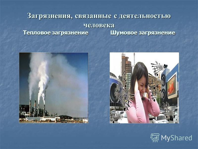 Загрязнения, связанные с деятельностью человека Тепловое загрязнение Шумовое загрязнение