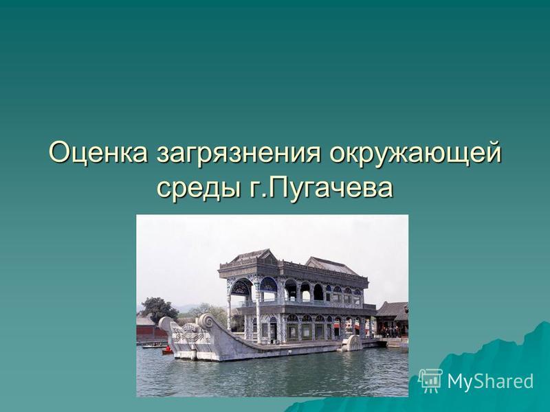Оценка загрязнения окружающей среды г.Пугачева Презентация учителя.