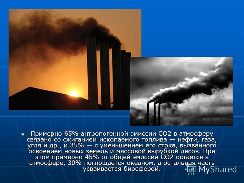 Примерно 65% антропогенной эмиссии СО2 в атмосферу связано со сжиганием ископаемого топлива нефти, газа, угля и др., и 35% с уменьшением его стока, вызванного освоением новых земель и массовой вырубкой лесов. При этом примерно 45% от общей эмиссии СО
