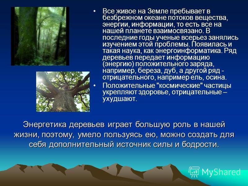Энергетика деревьев играет большую роль в нашей жизни, поэтому, умело пользуясь ею, можно создать для себя дополнительный источник силы и бодрости. Все живое на Земле пребывает в безбрежном океане потоков вещества, энергии, информации, то есть все на