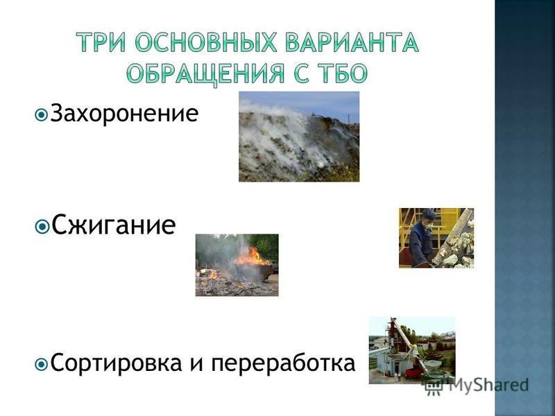 Захоронение Сжигание Сортировка и переработка