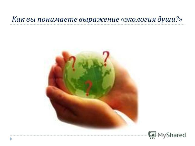 Как вы понимаете выражение « экология души ?»