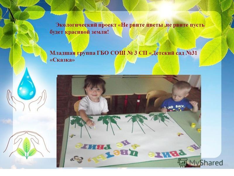 Экологический проект «Не рвите цветы,не рвите пусть будет красивой земля! Младшая группа ГБО СОШ 3 СП «Детский сад 31 «Сказка»