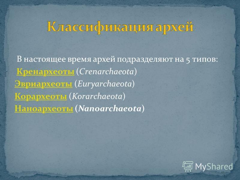 В настоящее время архей подразделяют на 5 типов: Кренархеоты (Crenarchaeota)Кренархеоты Эвриархеоты Эвриархеоты (Euryarchaeota) Корархеоты Корархеоты (Korarchaeota) Наноархеоты Наноархеоты (Nanoarchaeota)