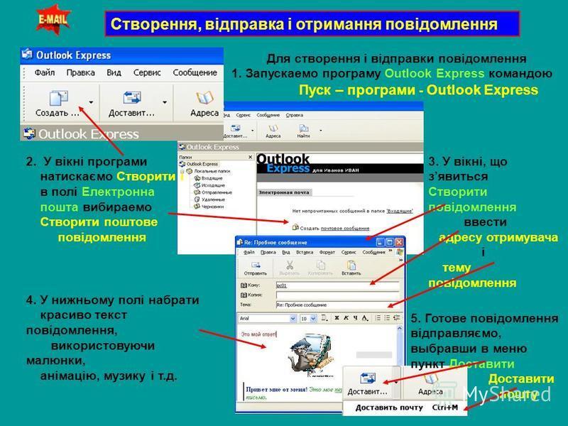 Створення, відправка і отримання повідомлення Для створення і відправки повідомлення 1. Запускаемо програму Outlook Express командою Пуск – програми - Outlook Express 2. У вікні програми натискаємо Створити і в полі Електронна пошта вибираемо Створит