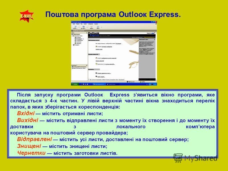 Поштова програма Оutlоок Ехргеss. Після запуску програми Оutlоок Ехргess зявиться вікно програми, яке складається з 4-х частин. У лівій верхній частині вікна знаходиться перелік папок, в яких зберігається кореспонденція: Вхідні містить отримані листи