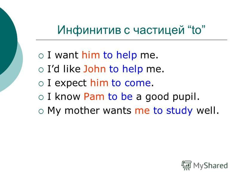 I want him to help me. Id like John to help me. I expect him to come. I know Pam to be a good pupil. My mother wants me to study well. Инфинитив с частицей to