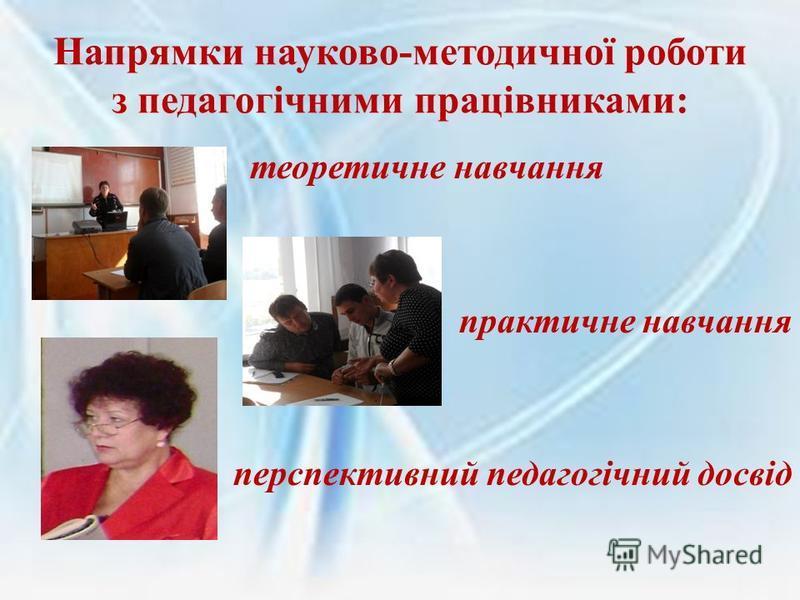 Напрямки науково-методичної роботи з педагогічними працівниками: теоретичне навчання практичне навчання перспективний педагогічний досвід