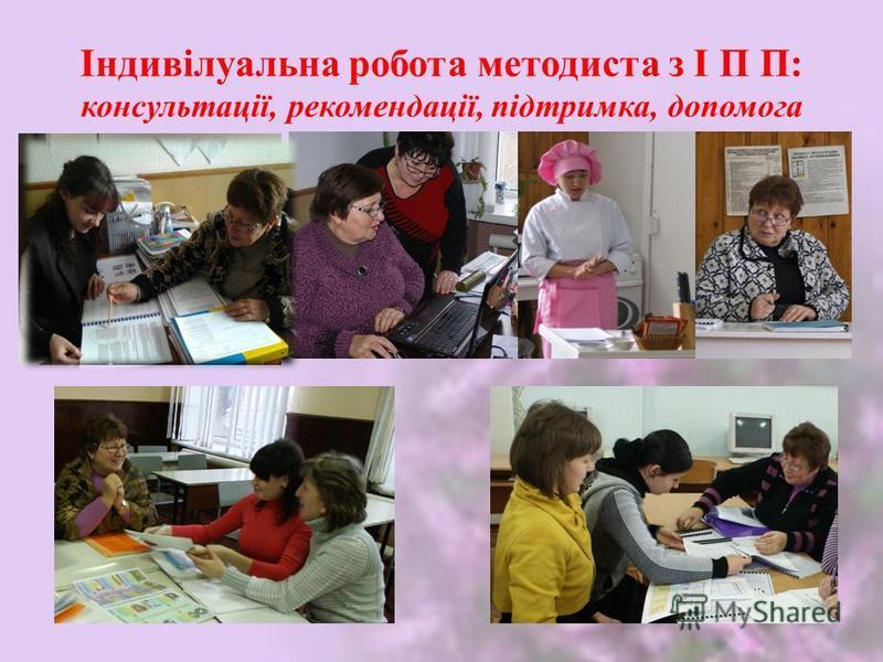 Індивілуальна робота методиста з І П П: консультації, рекомендації, підтримка, допомога