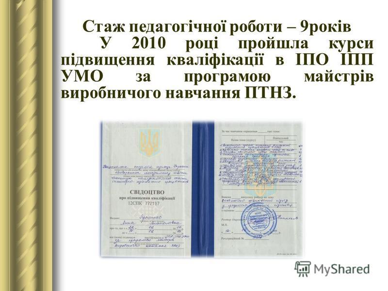 3 2005 року почала працювати у Казанківському ПАЛ на посаді майстра виробничого навчання, з підготовки кваліфікованих робітників з професії: Обліковець з реєстрації бухгалтерських даних, діловод.