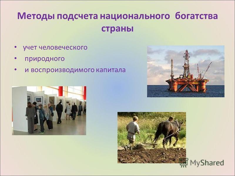 Методы подсчета национального богатства страны учет человеческого природного и воспроизводимого капитала