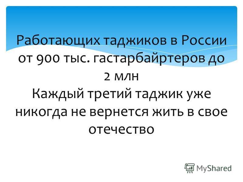 Работающих таджиков в России от 900 тыс. гастарбайтеров до 2 млн Каждый третий таджик уже никогда не вернется жить в свое отечество
