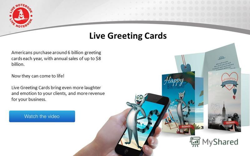 Live Greeting Cards Americans purchase around 6 billion greeting cards each year, with annual sales of up to $8 billion. Now they can come to life! Live Greeting Cards bring even more laughter and emotion to your clients, and more revenue for your bu