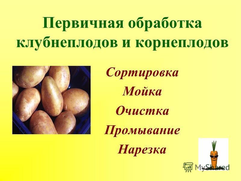 Первичная обработка клубнеплодов и корнеплодов Сортировка Мойка Очистка Промывание Нарезка