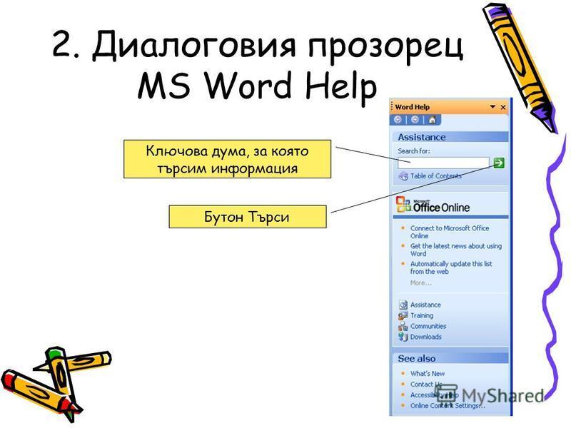 2. Диалоговия прозорец MS Word Help Ключова дума, за която търсим информация Бутон Търси