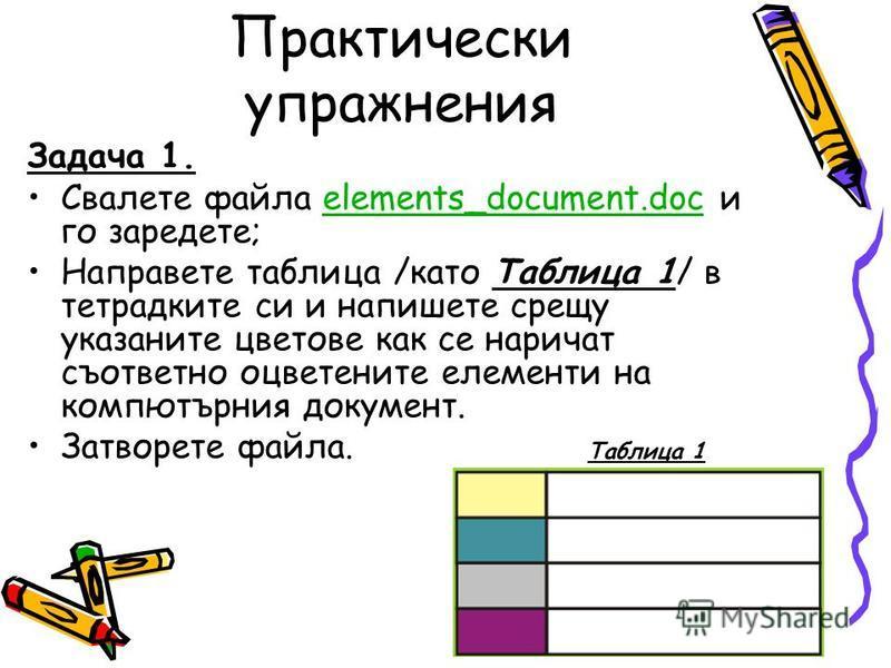 Практически упражнения Задача 1. Свалете файла elements_document.doc и го заредете;elements_document.doc Направете таблица /като Таблица 1/ в тетрадките си и напишете срещу указаните цветове как се наричат съответно оцветените елементи на компютърния