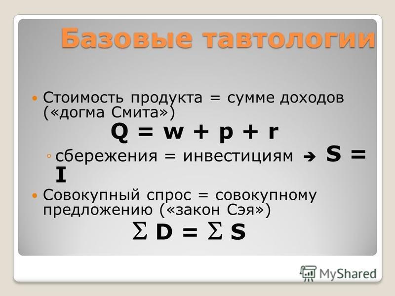Базовые тавтологии Стоимость продукта = сумме доходов («догма Смита») Q = w + p + r сбережения = инвестициям S = I Совокупный спрос = совокупному предложению («закон Сэя») D = S
