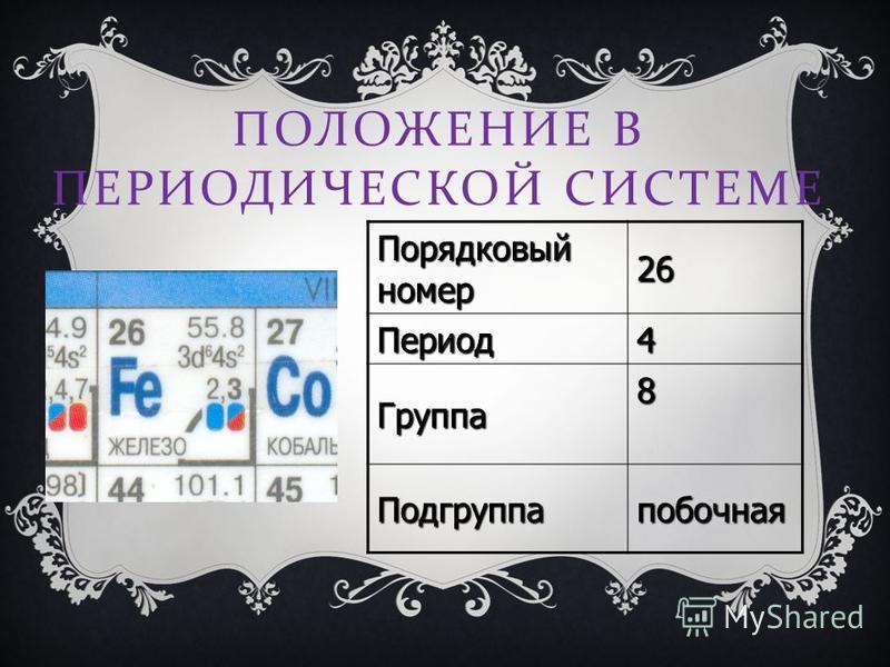 ПОЛОЖЕНИЕ В ПЕРИОДИЧЕСКОЙ СИСТЕМЕ Порядковый номер 26 Период 4 Группа 8 Подгруппапобочная