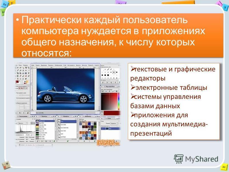 2 Tab 9 Alt Ins Esc End OЩOЩ Практически каждый пользователь компьютера нуждается в приложениях общего назначения, к числу которых относятся: текстовые и графические редакторы электронные таблицы системы управления базами данных приложения для создан